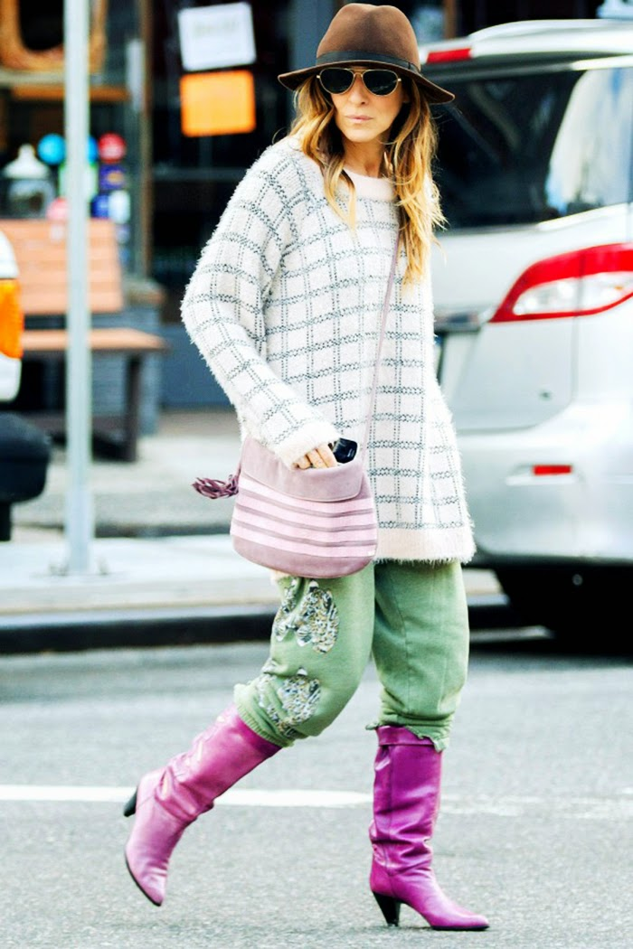 Sarah Jessica Parker Casual Street Style - Slouchy Track Pants
