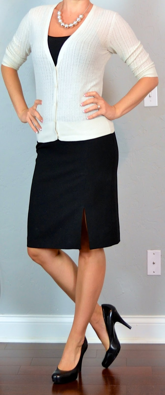 Outfit Posts outfit post cream cardigan black camisole black pencil skirt