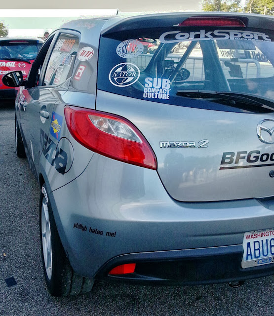 Derrick Ambrose CorkSport Mazda2 with a Subcompact Culture decal