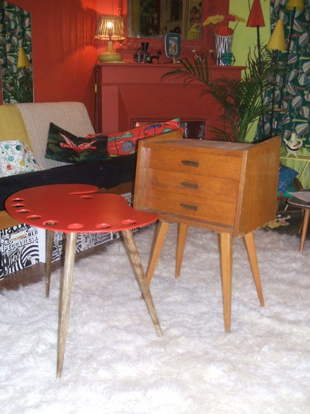 50s palette table , bedside table ... 1950 atomic