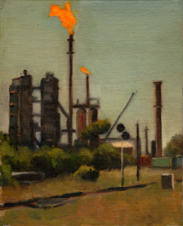Oil painting of an oil refinery with a distinctive orange flame burning at the top of one tower, with a train line in the foreground.