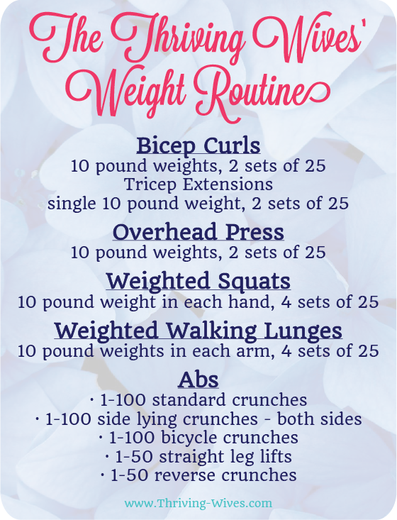 Free Printable Weight Routine