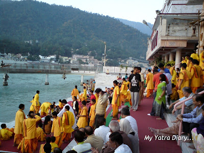 Students busy in the evening aarti arrangements at the Parmarth Niketan Ashram In Rishikesh