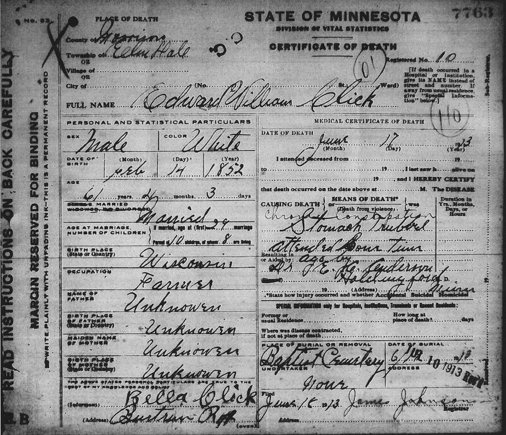 Minnesota family historian mystery man to top it off his death certificate says he was born 14 feb 1852 in wisconsin his childrens listings in subsequent censuses give their fathers aiddatafo Choice Image