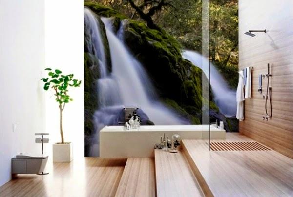 Decoracion De Un Baño Principal:Baño tipo Spa donde un mural en la pared principal crea una