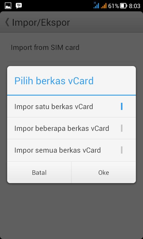 Konfirmasi file Vcard