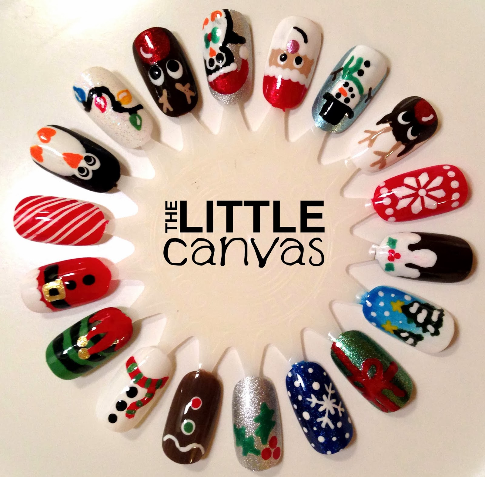 Christmas nail art wheel the little canvas from holly to figgy pudding i think i covered all the different christmas themes there are wayyyy too many colors to list what i did end up using prinsesfo Image collections