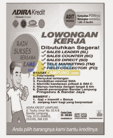 Lowongan Kerja Lampung, Kamis 3 September - ADIRA KREDIT