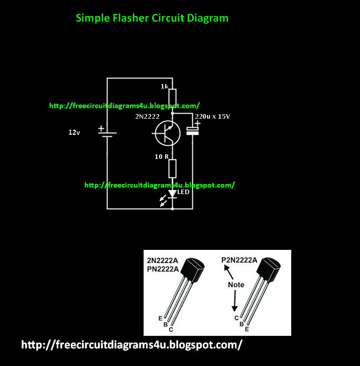 Free Circuit Diagrams 4u  Simple Flasher Circuit Diagram