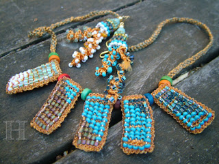 Beaded Crochet Necklace and Earrings - ClearlyHelena