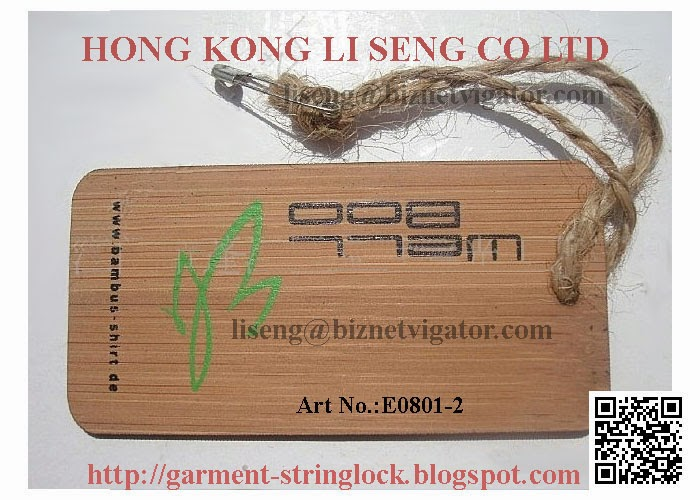 For Garment Bamboo Laser Label with Hemp Rope String Lock Manufacturer