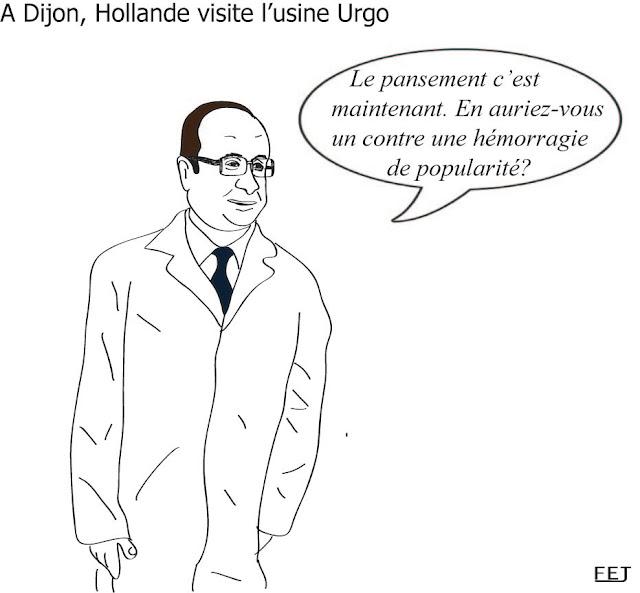 hollande en visite chez Urgo à Dijon fej dessin
