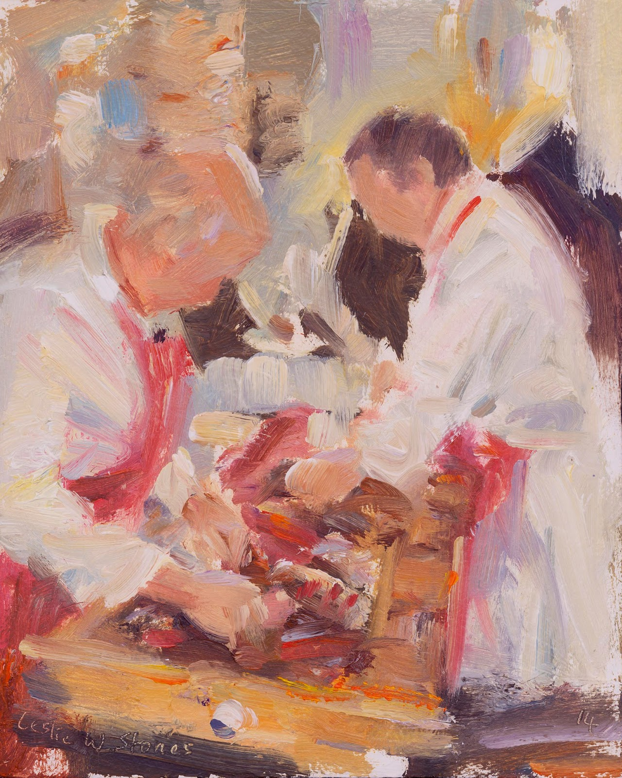 Painting of 2 butchers