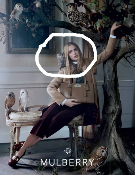 Cara Delevingne making silly face in Mulberry Campaign