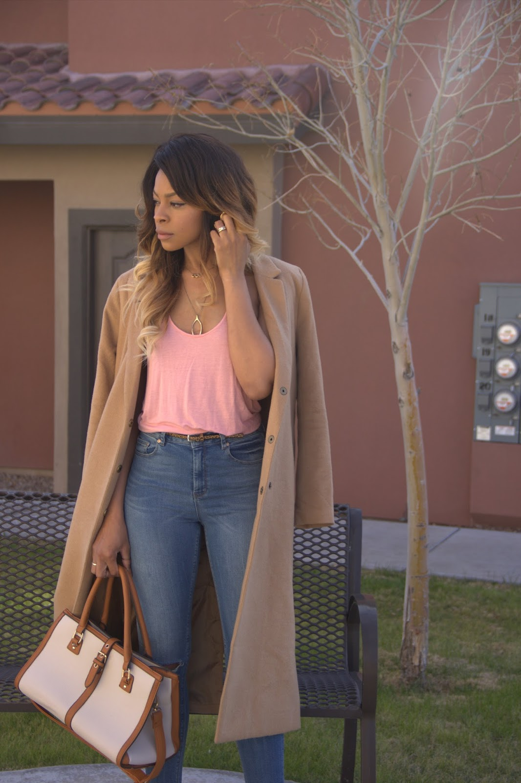 nude pumps outfit