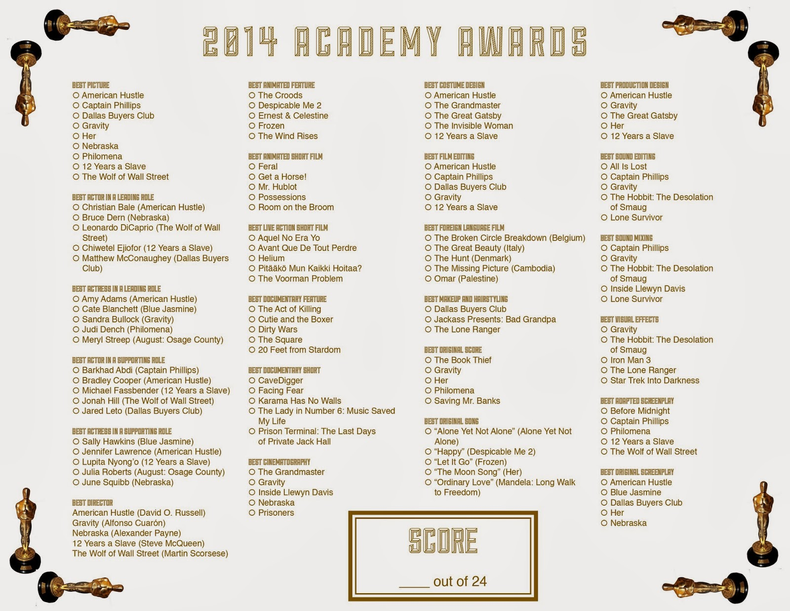 Academy Awards 2015 Printable Ballot | Search Results | Calendar 2015