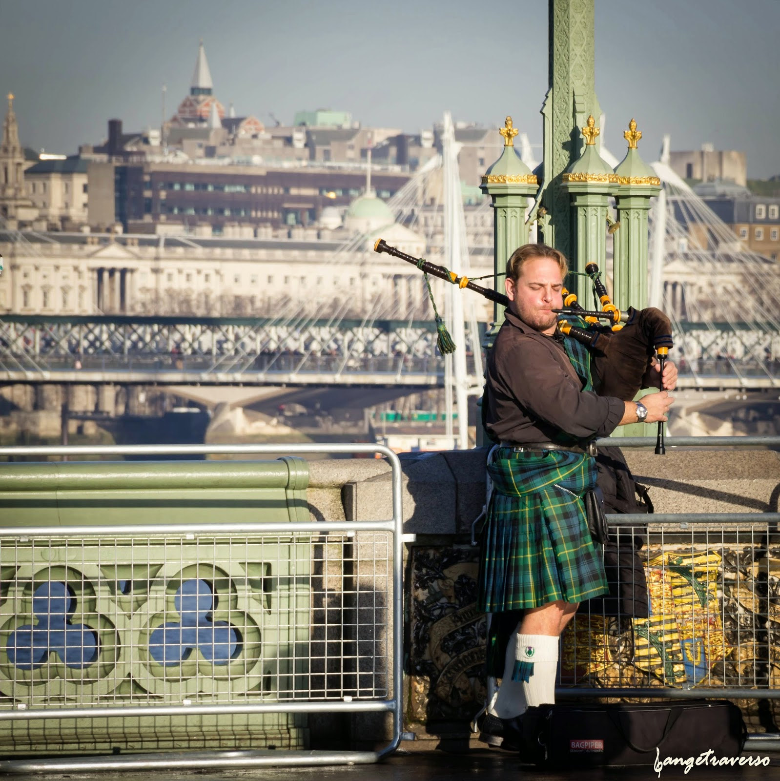 Player of pipe, since Westminster Bridge, London