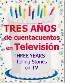 Celebrando mis tres años contando cuentos en Televisión.