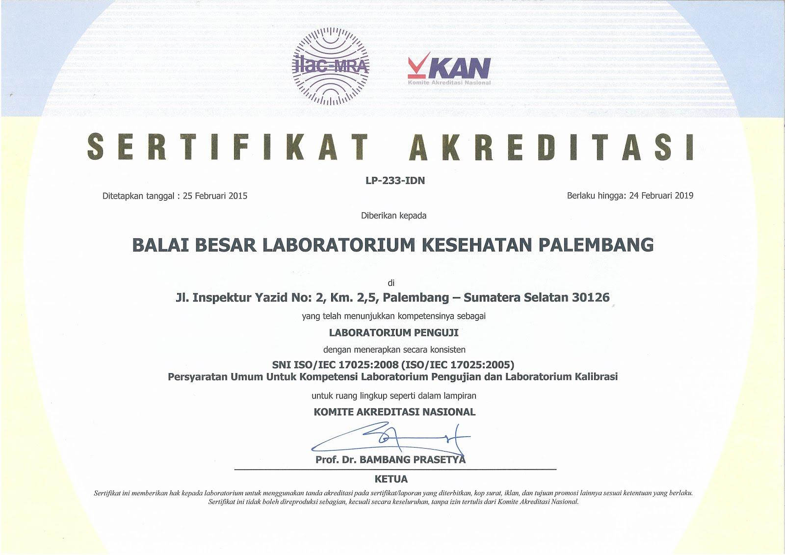 Sertifikat Lab Penguji 17025