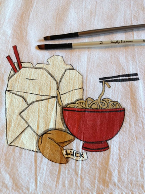 Asian Noodle Bowl Tea Towel