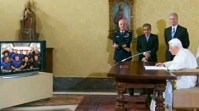 Pope Benedict XVI addressed the crew at ISS in a video conference. NASA 2011.