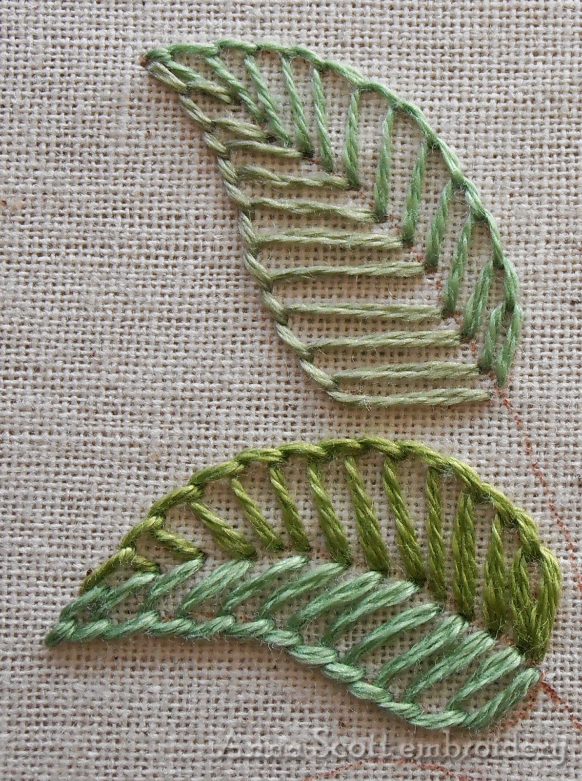 Anna scott blanket stitch leaves part one