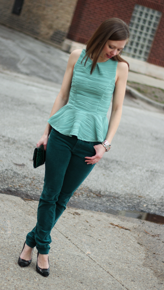 StyleSidebar - Mint Green Peplum Top, Green Corduroy, Green Patent Leopard Clutch