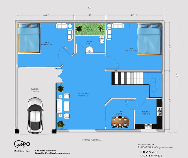 5 marla house plan 30x40 small house plan ideas 1200 for 30x40 floor plan