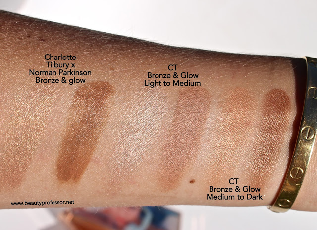 charlotte tilbury bronze and glow swatches