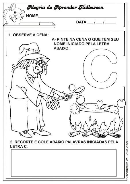 Atividade Consoante Temática Hallloween Caldeirão da Bruxa.