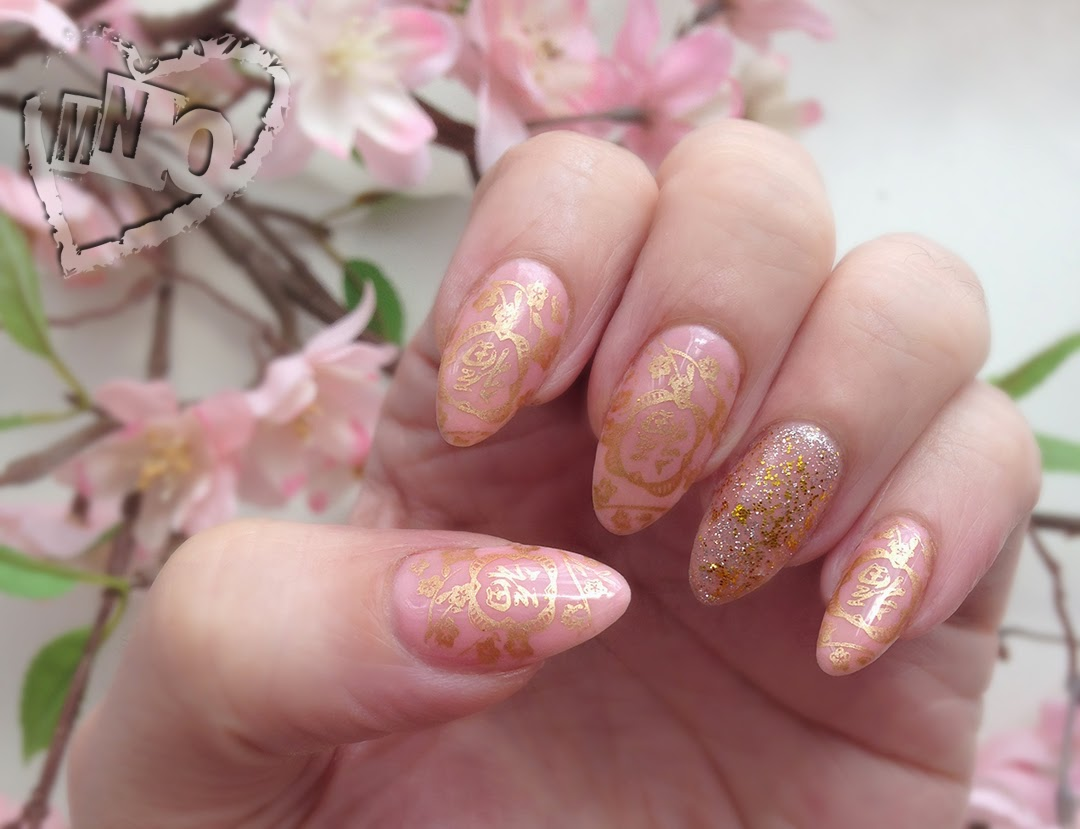 cherry blossom Nail Stamp Design Art Bold Gold Maybelline