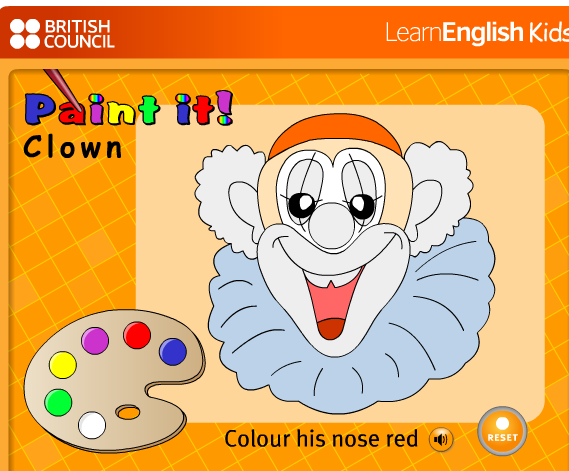 http://learnenglishkids.britishcouncil.org/en/word-games/paint-it/clowns-face-paint-it
