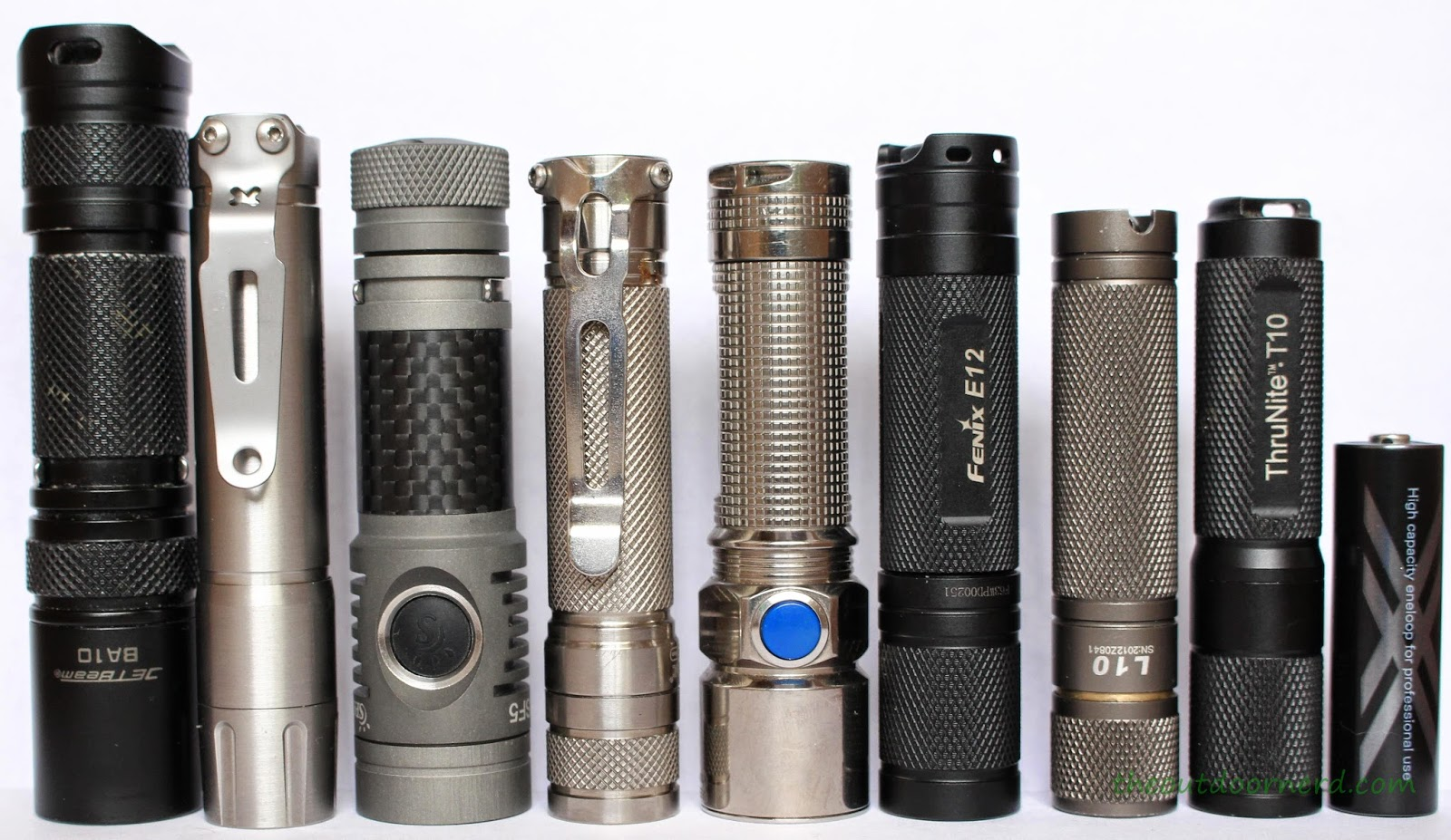 From Left: Jetbeam BA10, Thrunite T10S, Spark SF5, EagleTac D25A Ti, Olight S15 Ti, Fenix E12, L3 L10-219, Thrunite T10