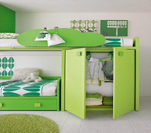 Green bedroom ideas for children with storage
