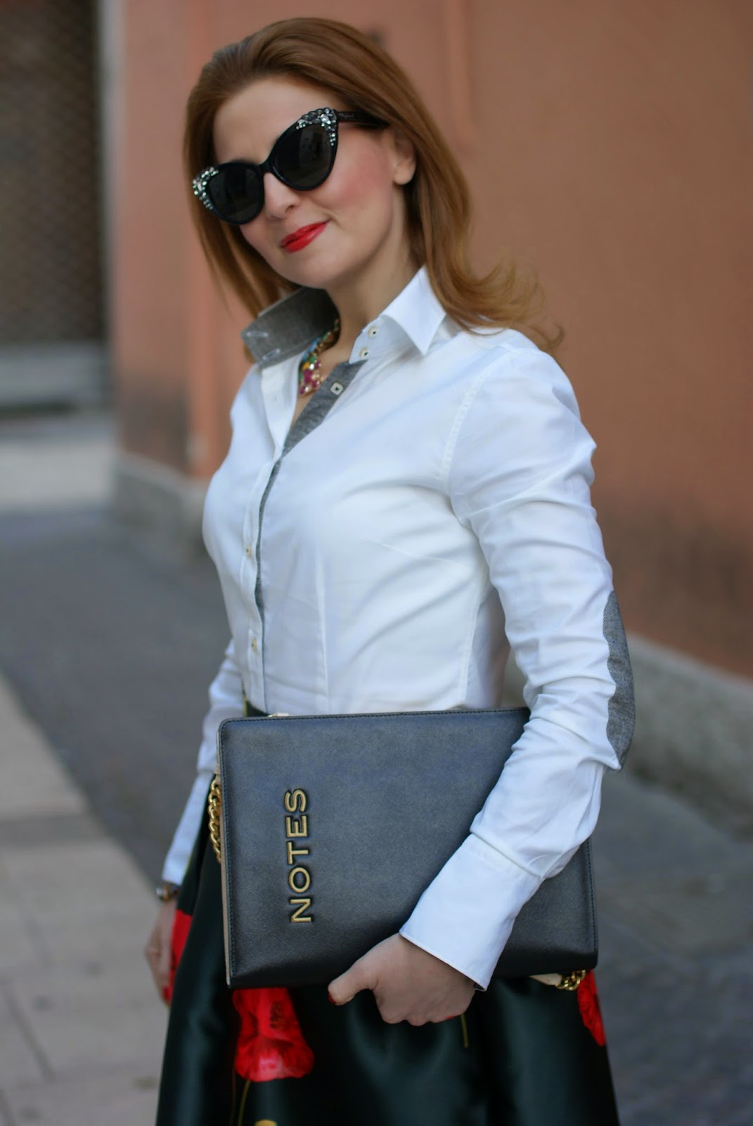 Moschino Notes clutch, jeweled sunglasses, poppy print skirt, Fashion and Cookies, fashion blogger