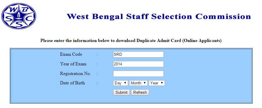 WBSSC LDC Asst. Amin Krishi Sahayak admit card