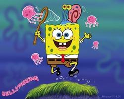 Bob Esponja en el campo de medusas