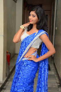 Bindhu in Spicy Silver Choli and Blue Saree Spicy Pics