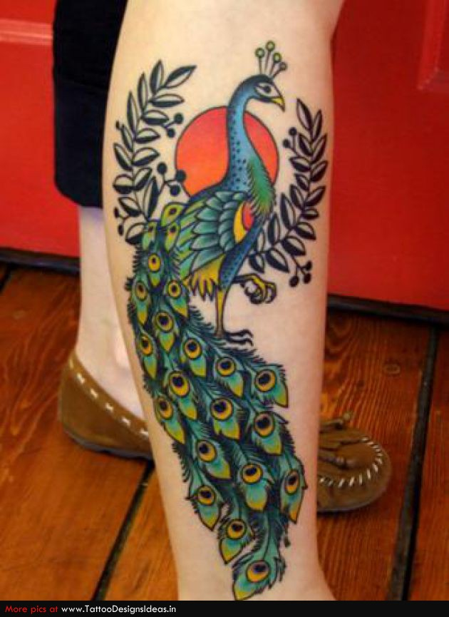 Red peacock tattoo - photo#27