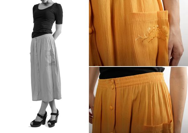 le vide dressing de roxane fripes vintage accessoires le vide dressing jupe moutarde. Black Bedroom Furniture Sets. Home Design Ideas