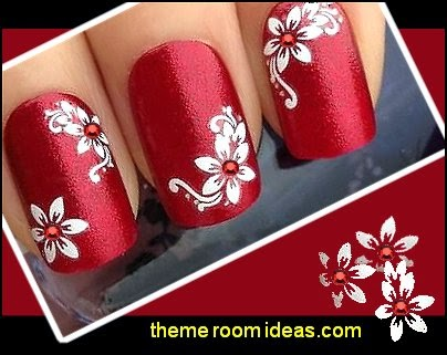 Decorating theme bedrooms maries manor nail art flower themed white flowers gem silver glitter nail art stickers decals prinsesfo Images