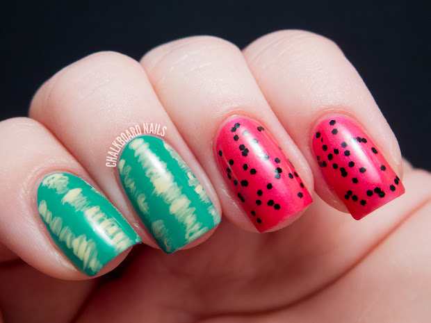 easy watermelon nail art chalkboard