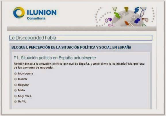 Imagen de la web de ILUNION y la encuesta