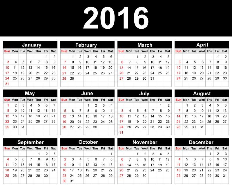 2016 printable work calendar calendar template 2016