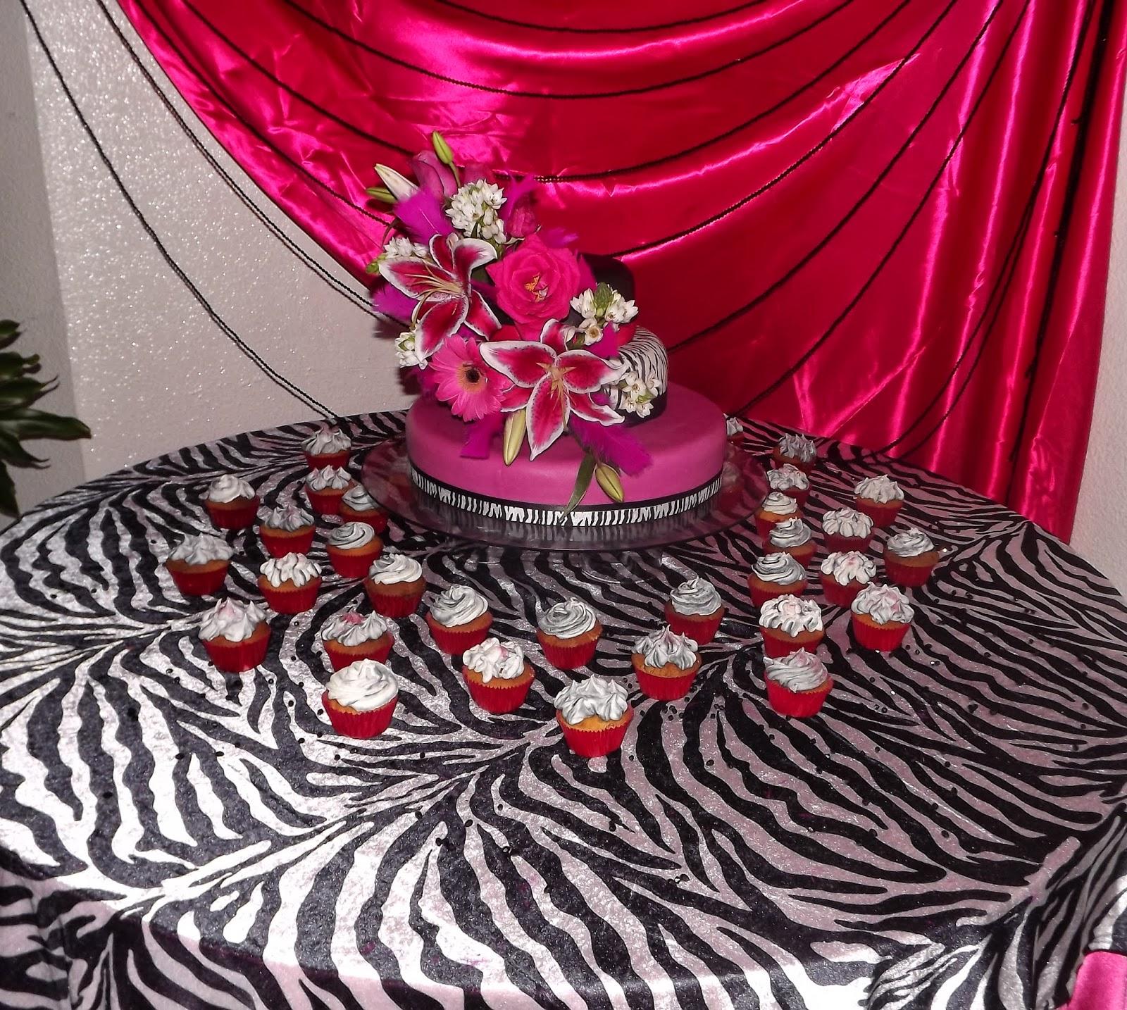 Tortas y decoraciones 15 a os fucsia y cebra for Decoracion cebra