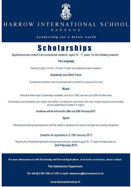 Harrow International School Bangkok Scholarship