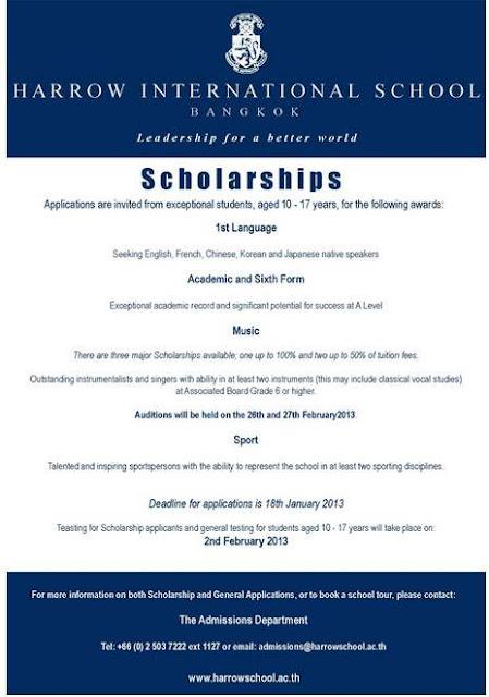 Harrow International School Bangkok Scholarship
