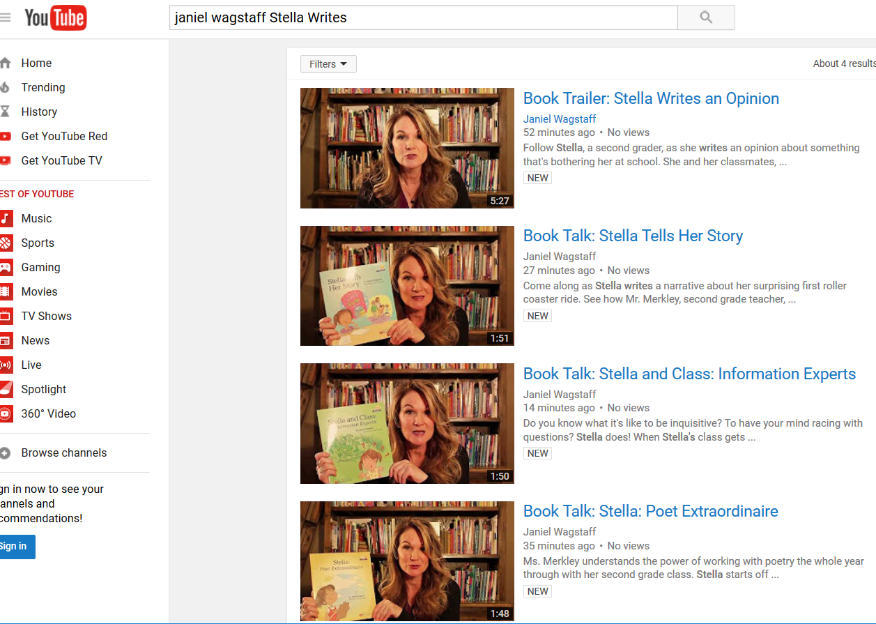 Stella Writes Book Trailer and Book Talk Videos