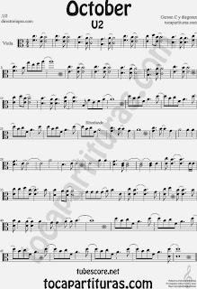Partitura de October de U2 para Viola Sheet Music U2 October Para tocar con tu instrumento y la música original como karaoke tocapartituras.com