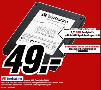 SSD-Festplatte Verbatim 2.5 Zoll SATA-II Internal mit 64GB bei Media Markt für 49 Euro